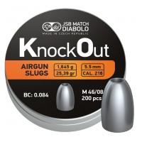 Пульки  JSB KnockOut Slug 5,5 мм ( cal.217) 1,645 гр (200 шт)